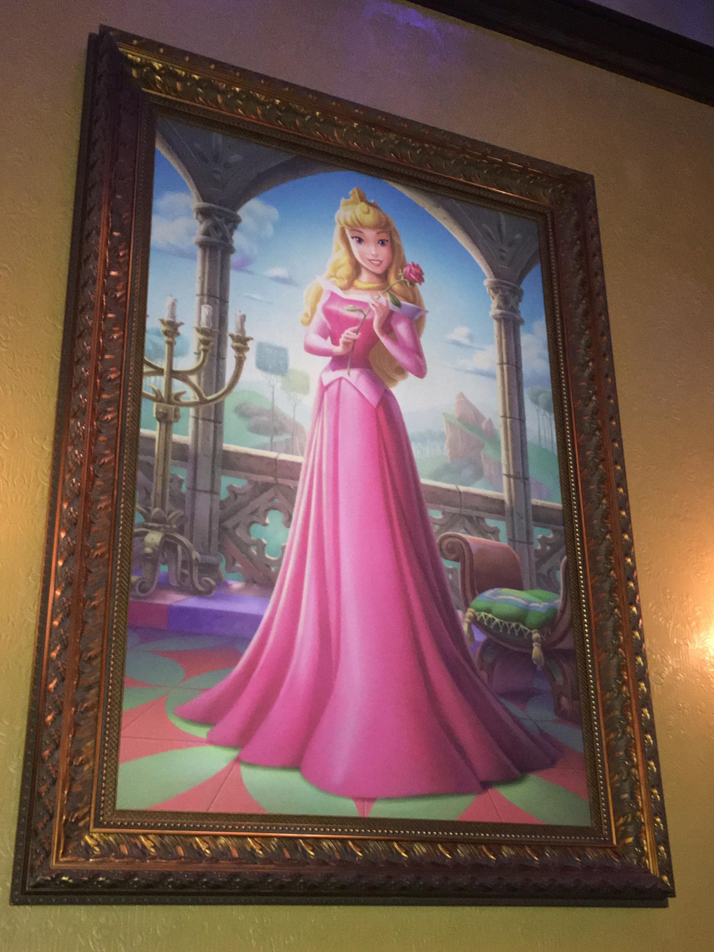 Sleeping Beauty portrait in Princess Fairytale Hall at Walt Disney World's Magic Kingdom