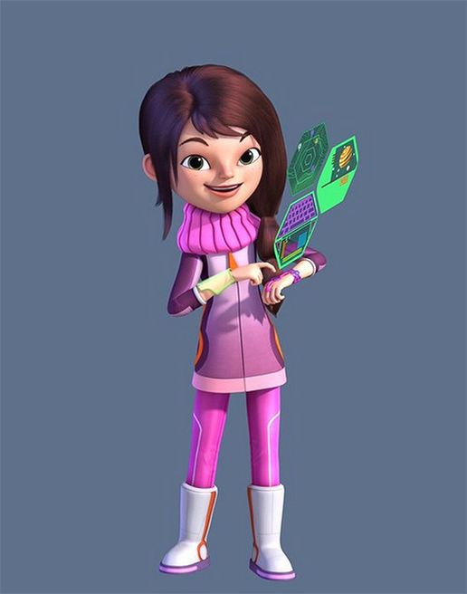 Loretta Callisto wearing a pink outfit and making her wrist contraption display hologram images