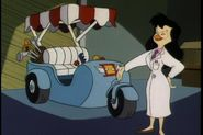 Sara Bellum from Darkwing Duck standing in a labcoat in front of a car she made