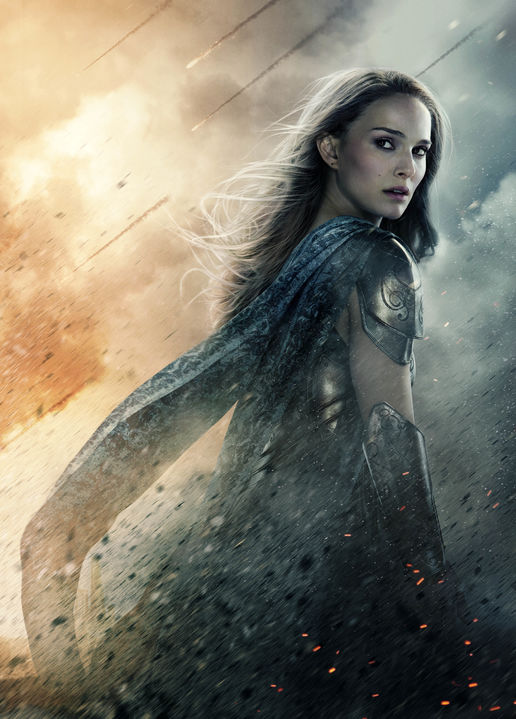 Jane Foster in Thor 2, wearing armor and looking over her shoulder