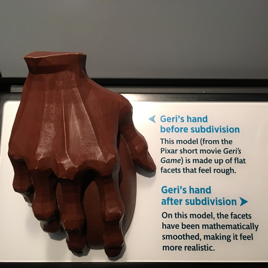 Geri's hand sculpture from Science Behind Pixar exhibit with flat, rough facets