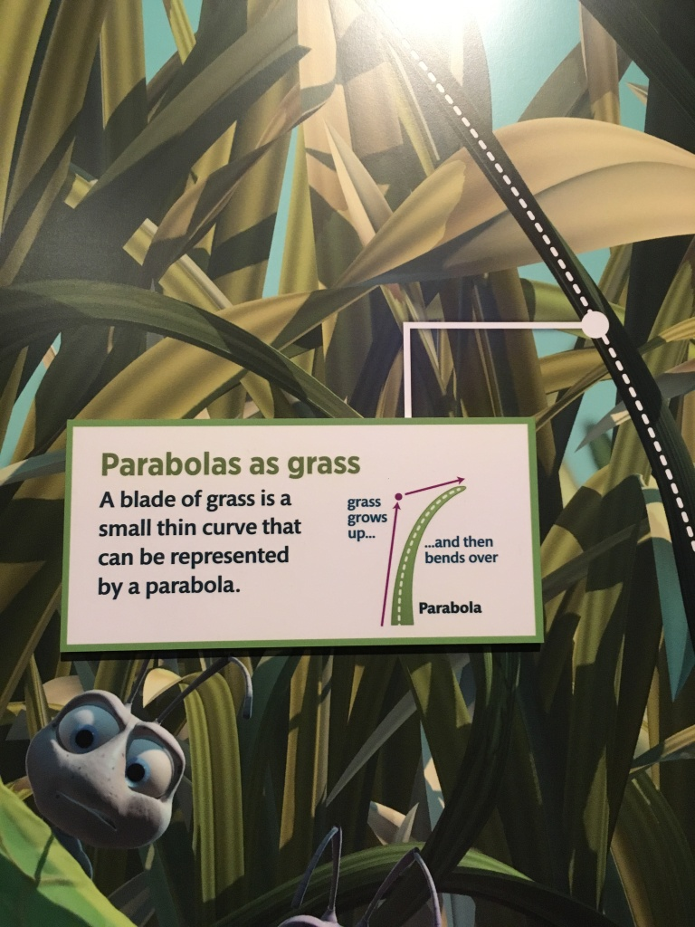 "The blades of grass in a bug's life were created from parabolas, as described by this snippet from the Science Behind Pixar museum. It reads ""A blade of grass is a small thin curve that can be represented by a parabola"""