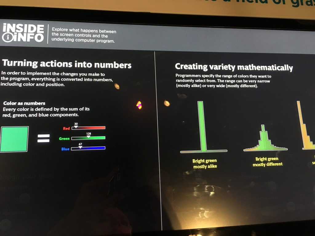 Screen from Science Behind Pixar exhibit showing different amounts of variability for determining colors of grass