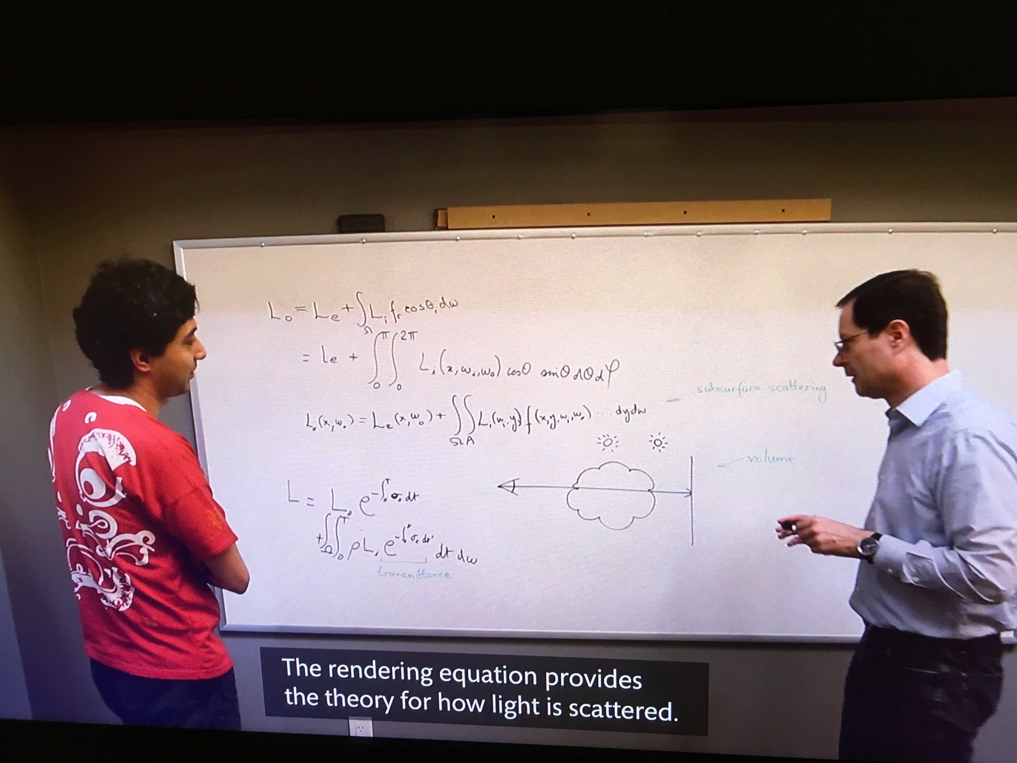 "Two Pixar employees stand in front of a whiteboard with a complicated math equation written in black ink. The caption for the video still reads ""The rendering equation provides the theory for how light is scattered."""