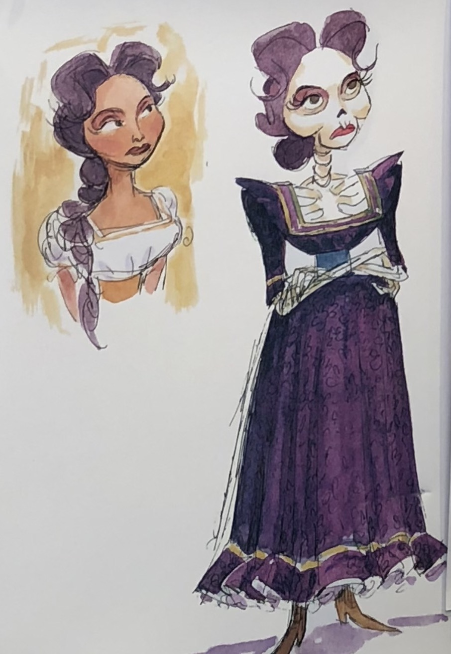 Mama Imelda concept art drawings as human and skeleton from gift shop at Pixar Pier