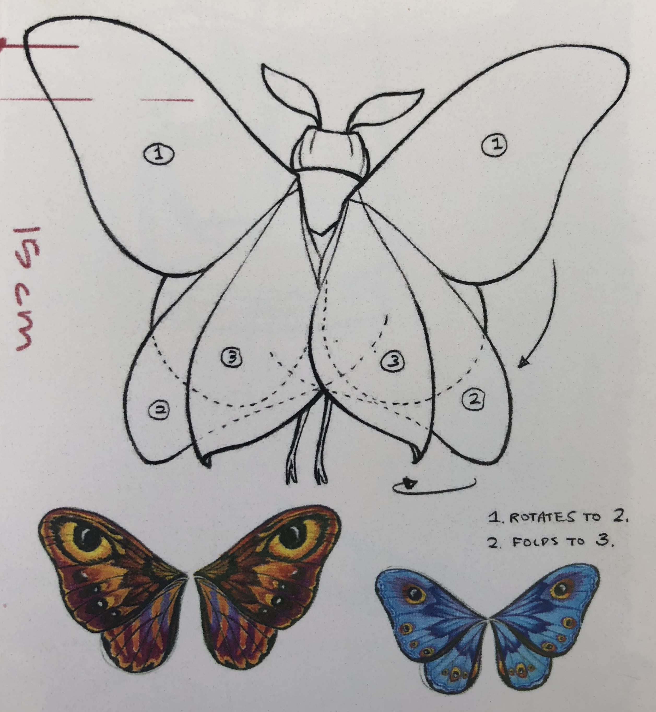 Moth wings concept art from menu at Lamplight Lounge