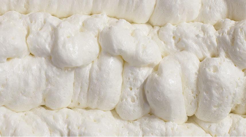 Close-up of white spray foam
