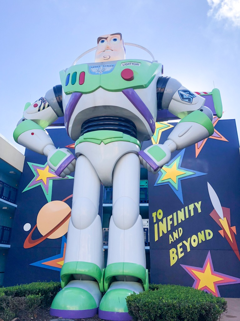 Oversized Buzz statue at All Star Movies Resort in Orlando, Florida
