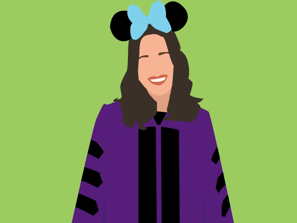 PhD Princess Logo - Cartoonized version of Sarah wearing doctoral graduation robes and Minnie Mouse ears